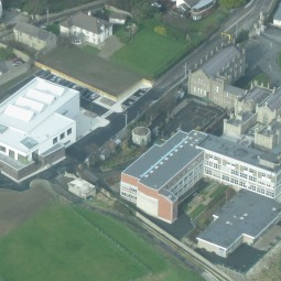 Aerial view of new Sports Hall at Loreto Abbey Secondary School, Dalkey